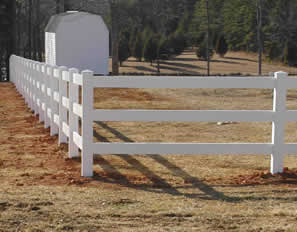 3 rail vinyl ranch fencing, installed in Virginia