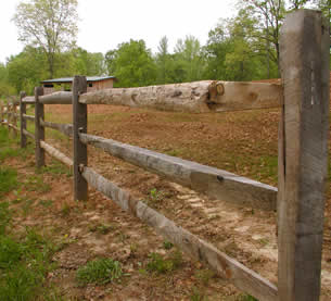 Split rail fence installation near Farmville, VA